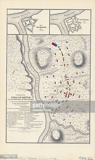 Sketch map of battlefields along the Monongahela River during French and Indian War Pennsylvania July 1755 Plan shows the field battle positions of...