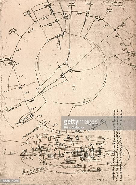 Sketch map of Milan c1472c1519 From the Codex Atlanticus From The Literary Works of Leonardo Da Vinci Vol II by Jean Paul Richter PH DR [Sampson Low...