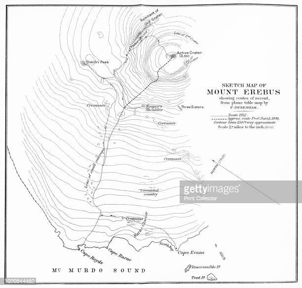 Sketch Map of Mount Erebus showing routes of ascent from plane table map by F Debenham' circa 1912 Erebus is the secondhighest volcano in Antarctica...