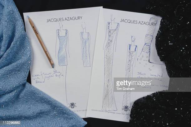 Sketch of a dress designed by fashion designer Jacques Azagury for Diana Princess of Wales 28 November 1997 Diana wore the completed dress to a...