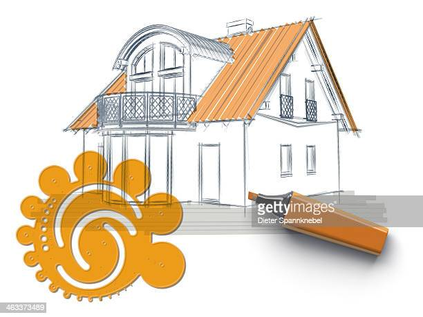 Sketch of a house and circle template