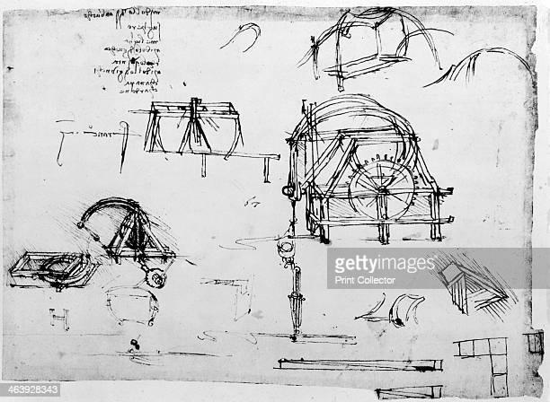 Sketch of a perpetual motion device designed by Leonardo da Vinci c14721519 Da Vinci's scientific drawings featured ideas such as a spinning wheel...