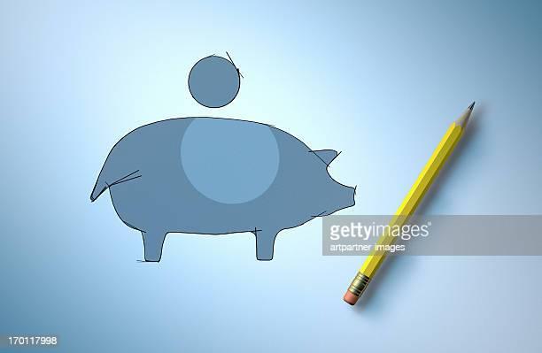 sketch of a piggy bank and a pencil