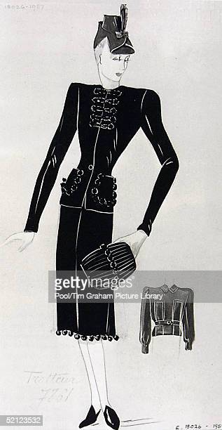 A sketch of an outfit made for Queen Maud on display at the 'Style and Splendour Queen Maud of Norway's Wardrobe 18961938' exhibition at the Victoria...
