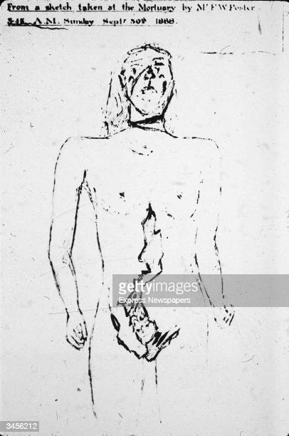 Sketch of Catherine Eddowes one of Jack the Ripper's victims showing her pre and postmortem injuries along with the caption 'From a sketch taken at...