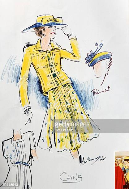 Sketch Of Design For Dress And Jacket For The Queen Designed By Fashion Designer Ian Thomas