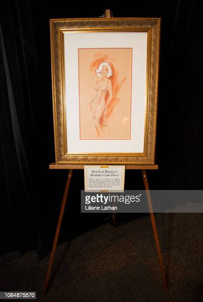 Sketch of Marilyn Monroe's Birthday Gala Dress at the Unveiling of Marilyn Monroe's Iconic 1962 'Happy Birthday Mr President' Dress at Ripley's...