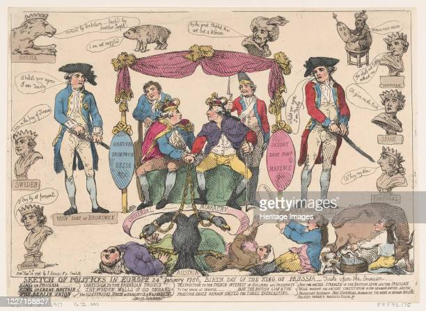 Sketch of Politiks in Europe, Birthday of the King of Prussia, February 10, 1786. Artist Thomas Rowlandson.