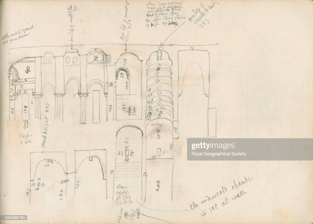 Sketch of section of the inside of the Kharauch : News Photo