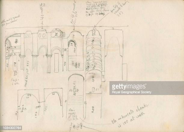 Sketch of section of the inside of the Kharauch This image is taken from page 25 of notebook 15 of 15 these contain plans of churches copies of...