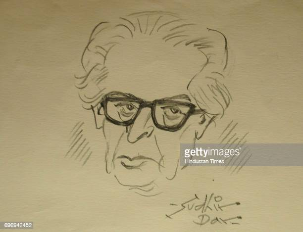 Sketch of Sudhir Dhar, Indian cartoonist, one of the 'second generation' of editorial cartoonists, displayed during an exclusive interview with...