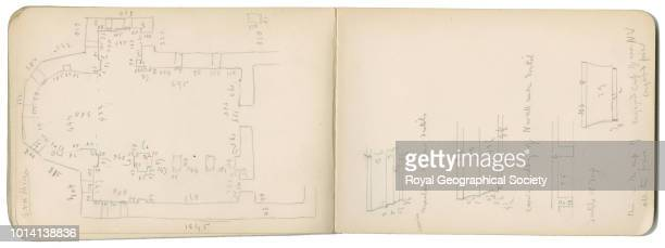 Sketch of temple floor plan with details of cornice moulding This image is taken from notebook 4 of 15 these contain plans of churches copies of...