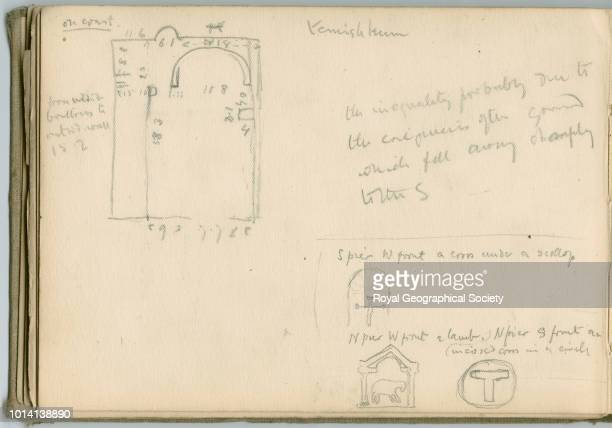 Sketch of temple floorplan and some decoration This image is taken from notebook 3 of 15 these contain plans of churches copies of inscriptions and...