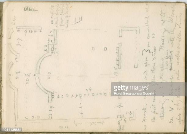 Sketch of temple floorplan This image is taken from notebook 3 of 15 these contain plans of churches copies of inscriptions and other notes taken in...