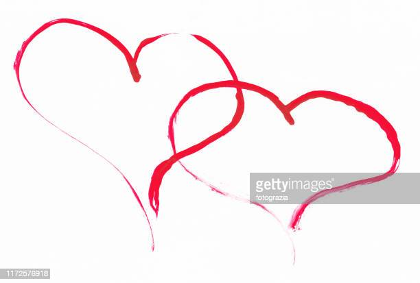 sketch of two red hearts - donate icon stock photos and pictures
