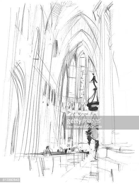 Sketch shows churchgoers at the Cathedral at Chartres Chartres France July 1965 Brandt was a cubist and member of the California Watercolor movement