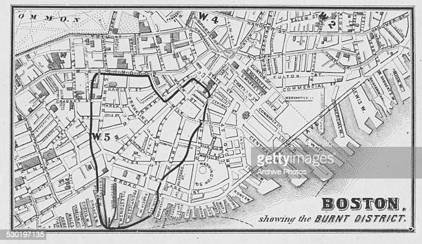 Sketch street map of Boston showing the burnt district during the Fire of Boston Massachusetts November 10th 1872
