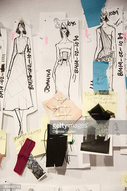 LOOK sketched by designer Bibhu Mohapatra and fabric swatches pinned to his studio wall on September 13 2013 in New York City