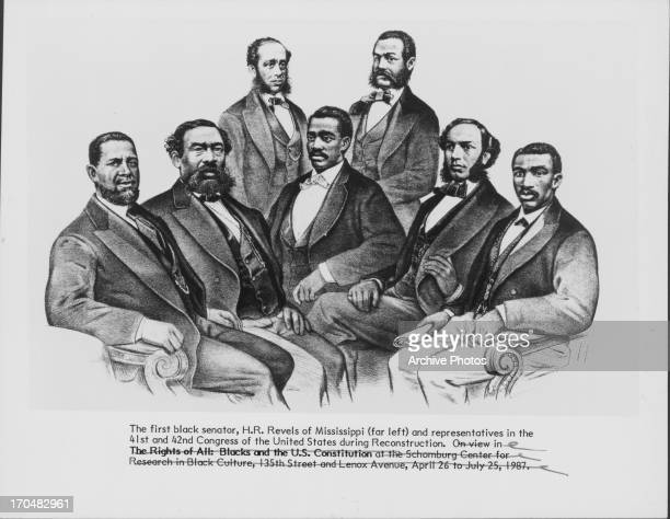 Sketched group portrait of the first black senator, H. M. Revels of Mississippi and black representatives of the US Congress during the...