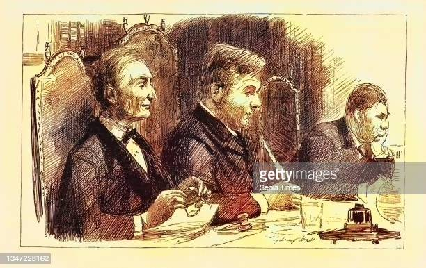 Sketches at the Meetings of the London School Board 1890, the Rev. Diggle, Chairman, in the Middle, Engraving 1890, UK, U.K., Britain, British,...