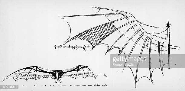Sketches by the Florentine artist and engineer Leonardo da Vinci of the wings of a glider 1500s The sketches appear to be based on da Vinci's study...