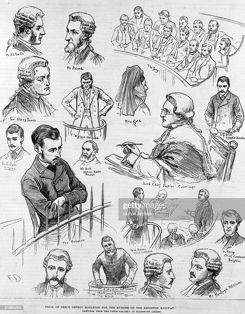 Sketches from the press gallery at Maidstone Assizes, during the trial of Percy Lefroy Mapleton for the murder of Isaac Frederick Gold on the Brighton Railway, 1881. Lord Chief Justice Coleridge is presiding. Mapleton was convicted and hanged on 29th November.