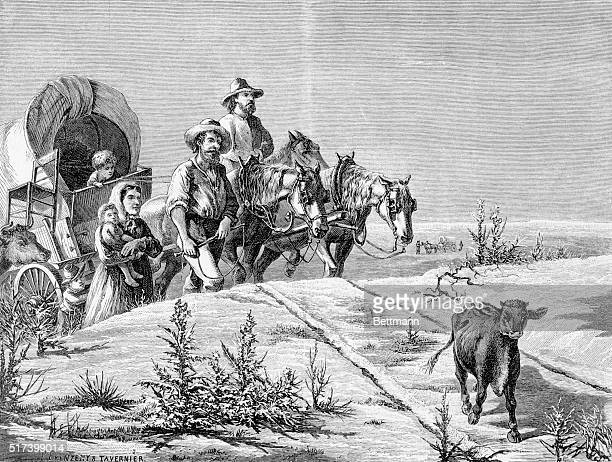 Sketches in the far westwestward expansion Arkansas pilgrims crossing the plains by covered wagon Tavernier engraving undated