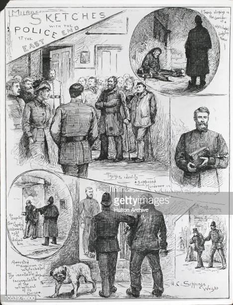 Sketches of police investigation into the 'Jack the Ripper' murders in Whitechapel, London, 1888. By H. C. Seppings Wright from the Illustrated...