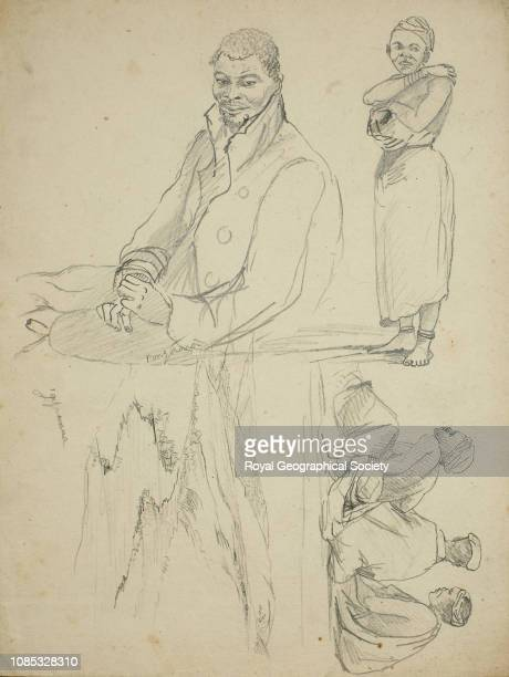 Sketches of Pongaaro and Gaquwanna Hottentot man and women group of three women seated and small sketch of a river valley South Africa