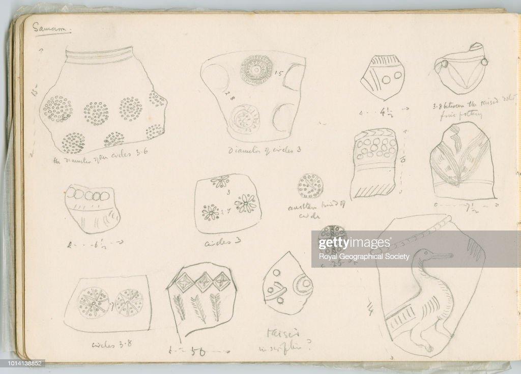 Sketches of pottery fragments, Samarra : News Photo