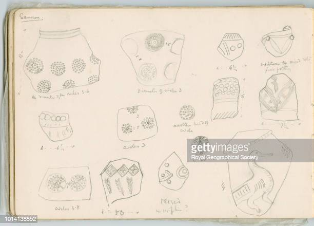 Sketches of pottery fragments Samarra This image is taken from notebook 11 of 15 these contain plans of churches copies of inscriptions and other...