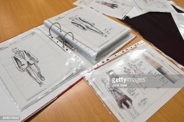 Sketches of stage costume designs shown during the press conference for Russian Opera 'Demon' at Gran Teatre del Liceu on April 18 2018 in Barcelona...