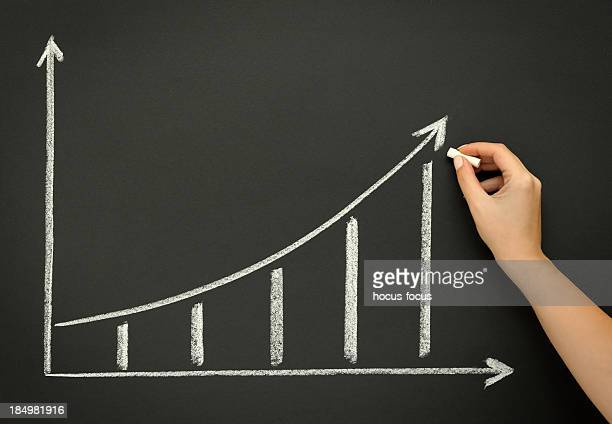 Dessin graphique de croissance sur Tableau noir