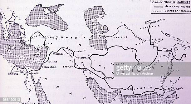 A sketchmap of Alexander's Chief exploratory marches from Athens to Hyderabad and Gaza The dotted line shows the course of Nearchus' voyage down the...