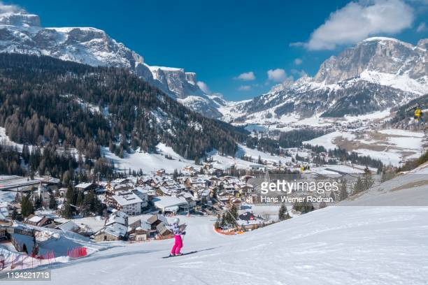ski area with view of corvara, dolomites, south tyrol, italy - alta badia stock pictures, royalty-free photos & images