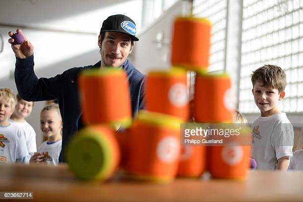 Ski athlete Felix Neureuther plays with schoolchildren during the kick off for a health initiative for children on November 15 2016 in Penzberg...