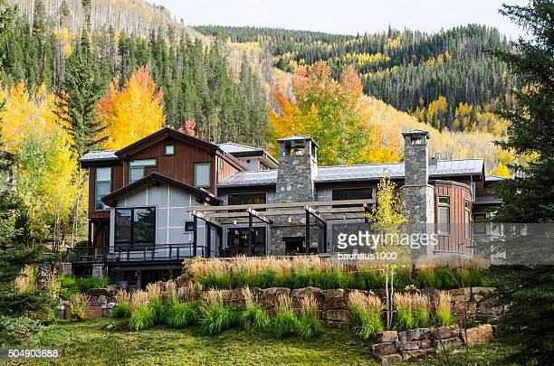 ski chalet home in vail, colorado - aspen colorado stock photos and pictures