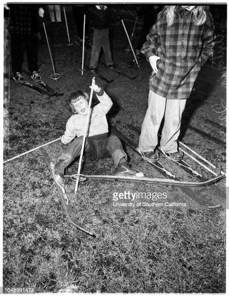 Ski class 12 January 1952 Tony Fowler May KarlsonAntonia DavenportMalcolm B Davenport 4 yearsBilly Lifquist 9 yearsCaption slip reads 'Photographer...
