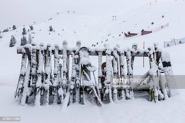 ski equipment in the snow - ski pole stock pictures, royalty-free photos & images