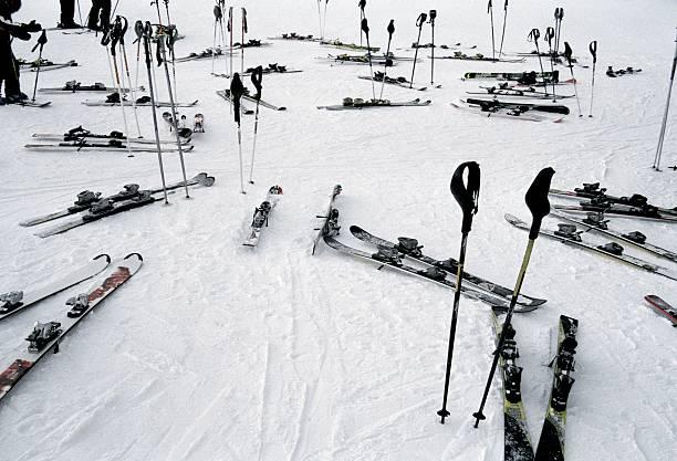 Ski equipment on the slopes at a ski resort