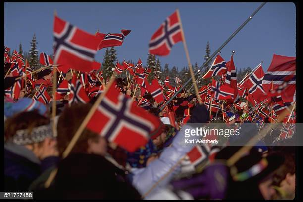 Ski Fans with Norwegian Flags