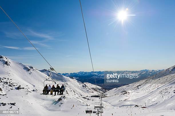 Ski Field Chair Lift Snow Boarders