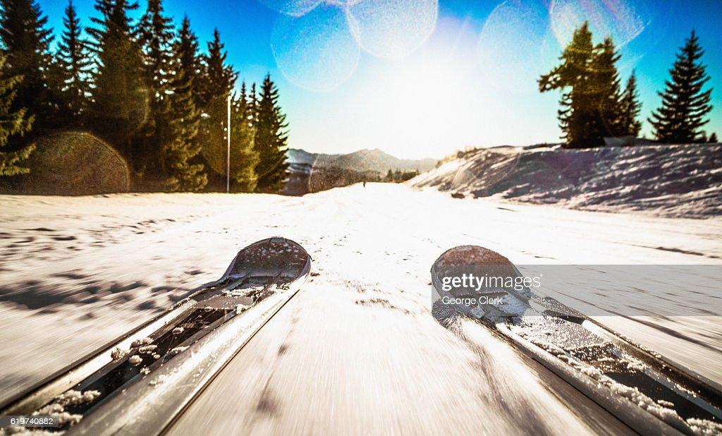 Ski Freedom - skiing point of view : Stock Photo