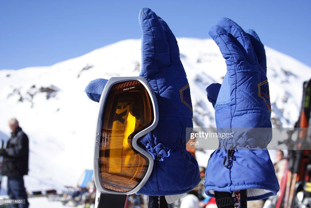 UVEX Ski goggles on gloves : Stock Photo