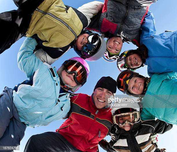 ski group - ski holiday stock photos and pictures