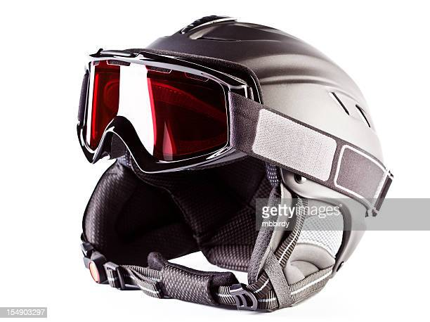 Ski helmet with goggles, isolated on white