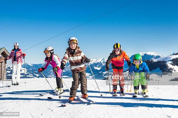 Ski holiday, Children learning to ski, Sudelfeld, Bavaria, Germany
