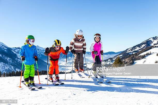 Ski holiday, group of children in ski-wear, Sudelfeld, Bavaria, Germany