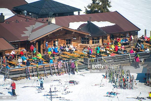 ski hut in austria view from above