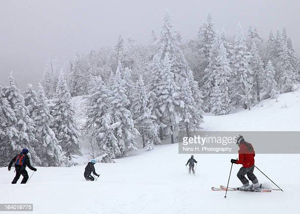 ski in mont-tremblant - quebec - mont tremblant stock pictures, royalty-free photos & images